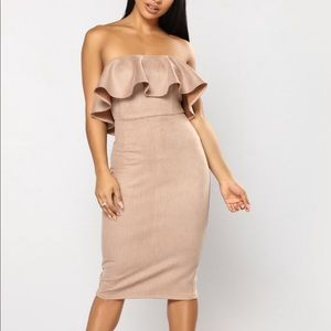 Money And Power Houndstooth Dress - Taupe- M